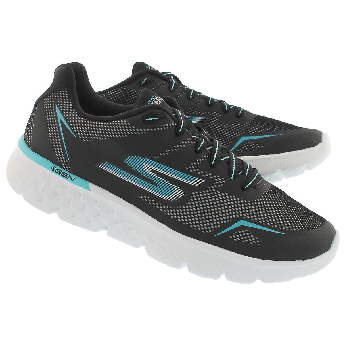 Lds GO Run 400 blk/aqua lace up sneaker