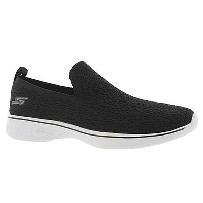 Lds GO Walk 4 blk/wht slip on shoe