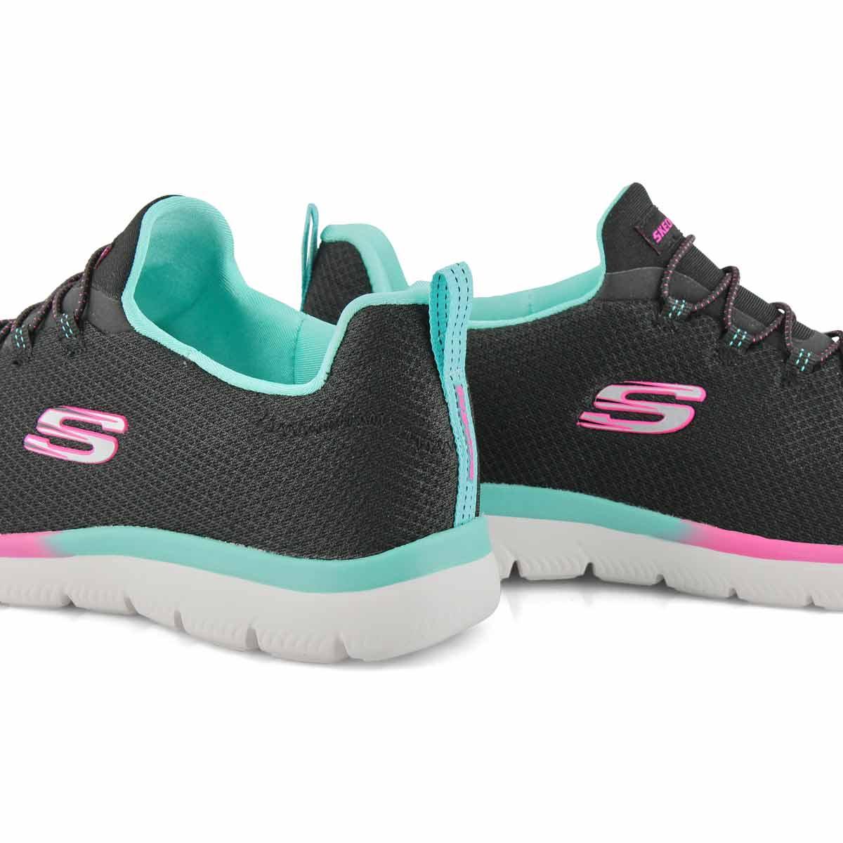 Lds Summits blk/blu/pnk slip on sneaker