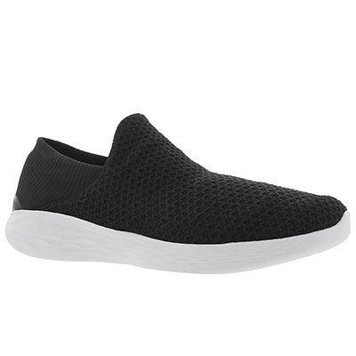 Lds You blk/wht slip on walking shoe