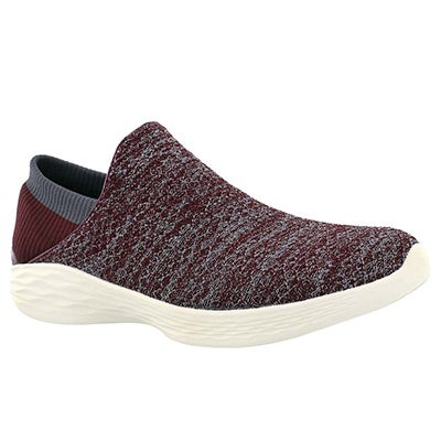 Lds You burgundy slip on walking shoe