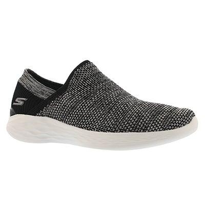 Lds You blk/wht slip on walking shoe