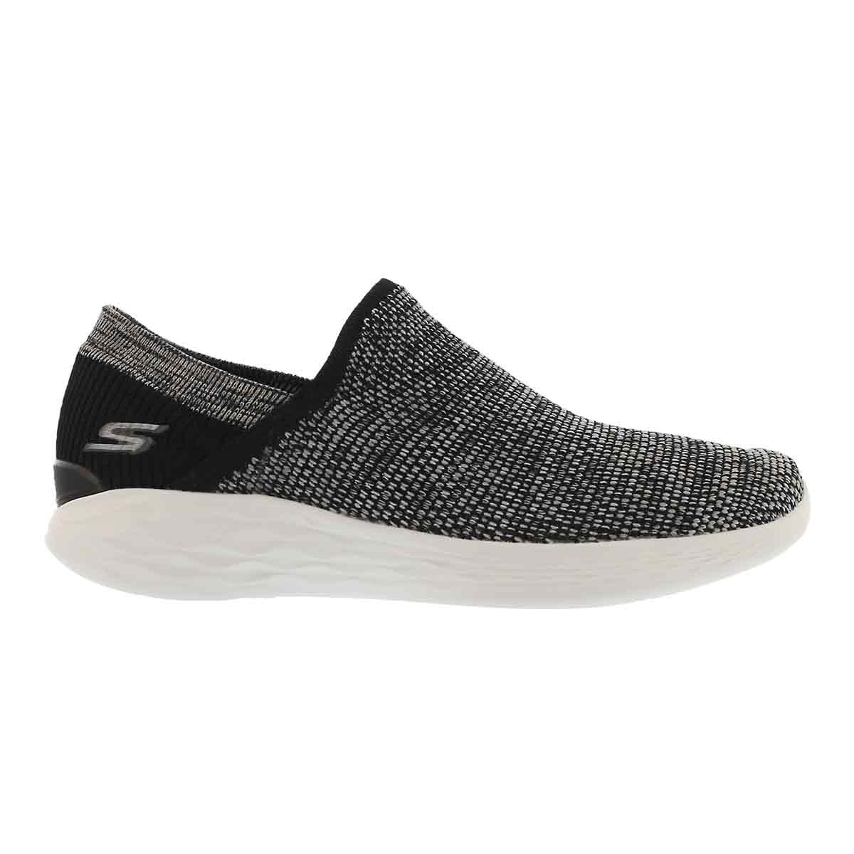 Lds YOU Rise blk/wht slipon walking shoe