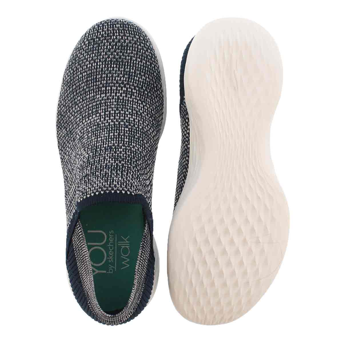 Lds YOU Rise nvy/wht slipon walking shoe