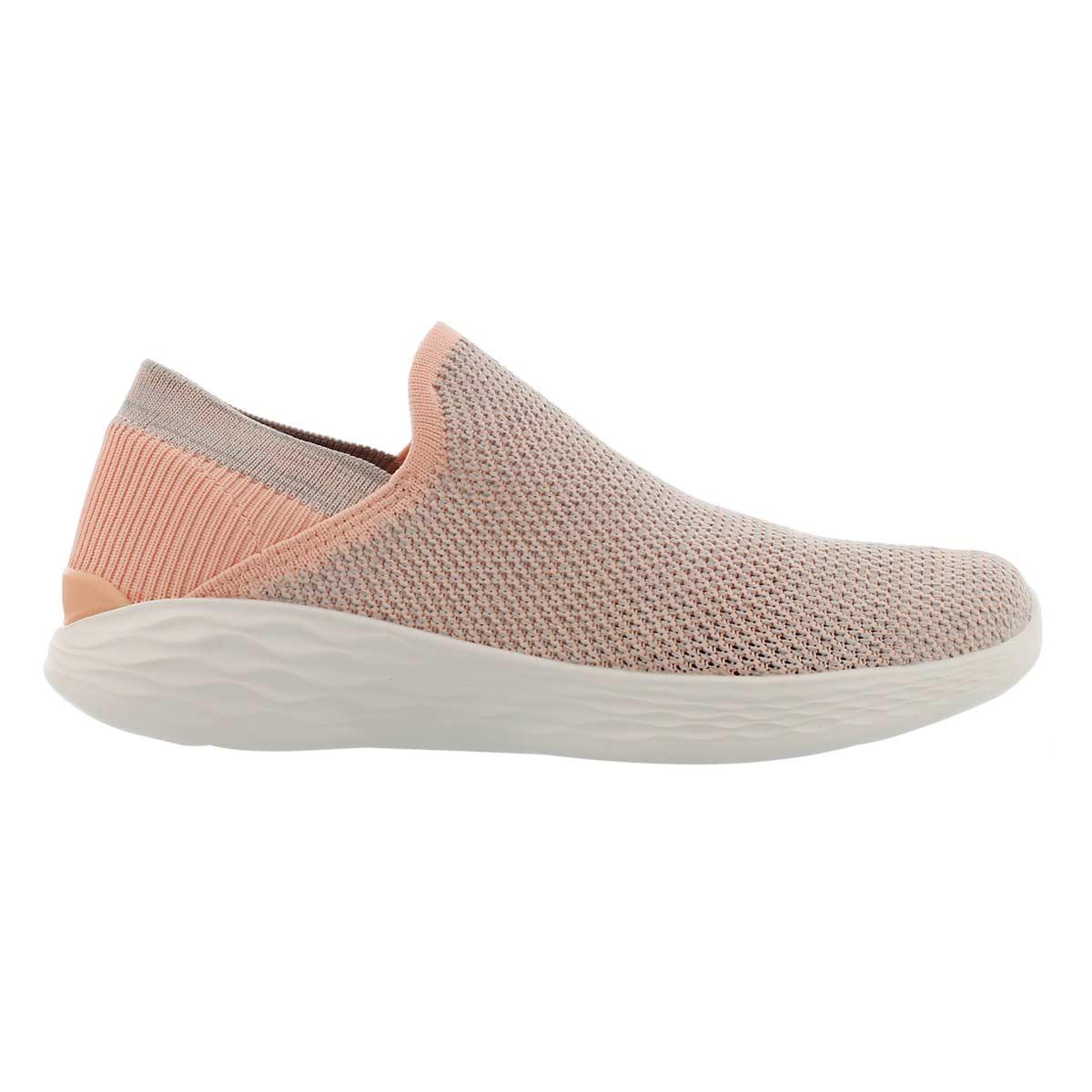 Lds You Rise peach slip on walking shoe