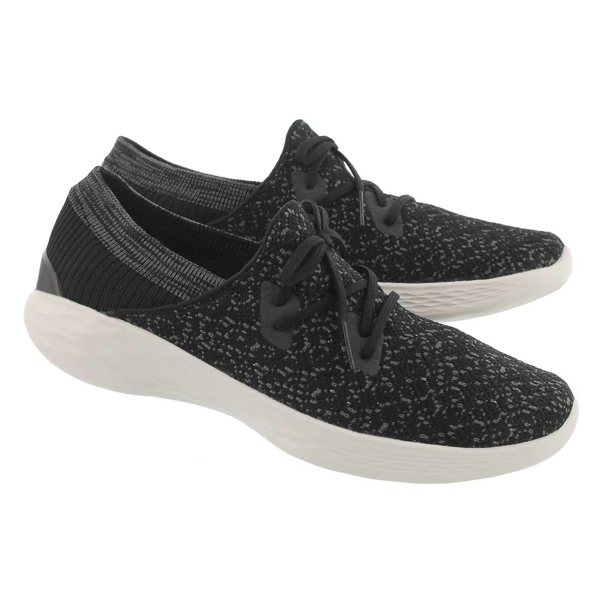 Lds You Exhale blk sprkl slip on sneaker