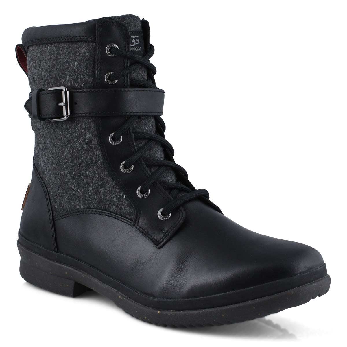 Women's KESEY blk leather waterproof lace up boots