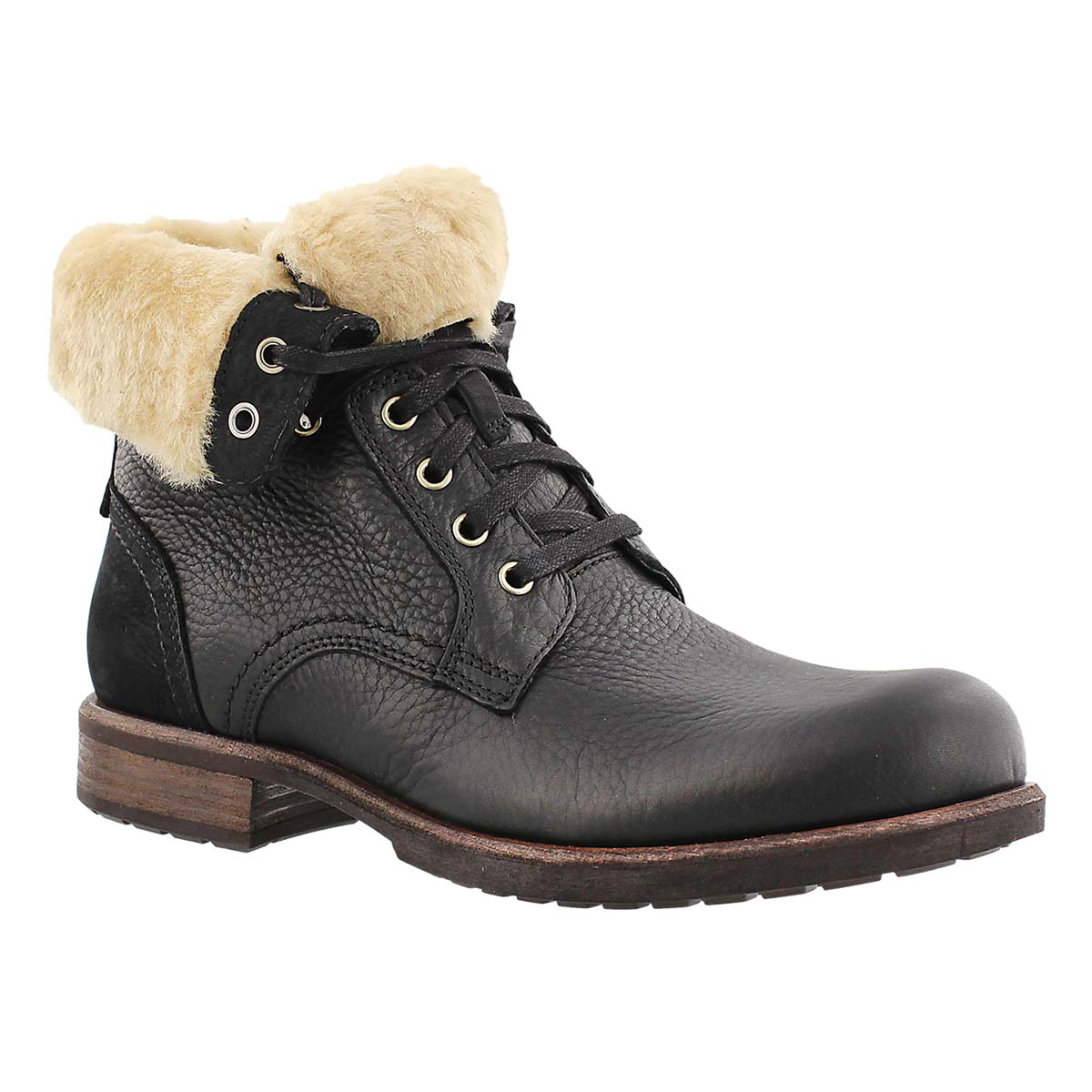 Men's LARUS black leather casual fold down boots