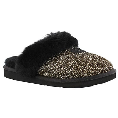 Lds Cozy Fancy black sparkle slipper