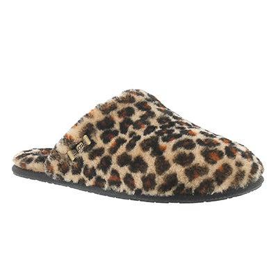 Lds Leopard Clog sheepskin slipper