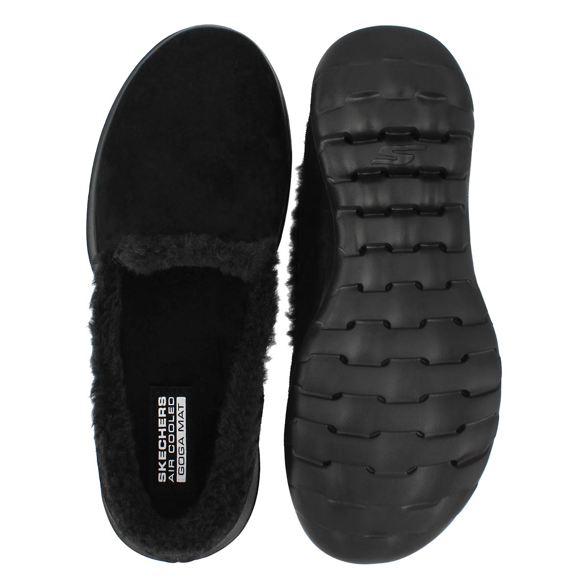 Lds GOwalk Lite blk slip on lined shoe