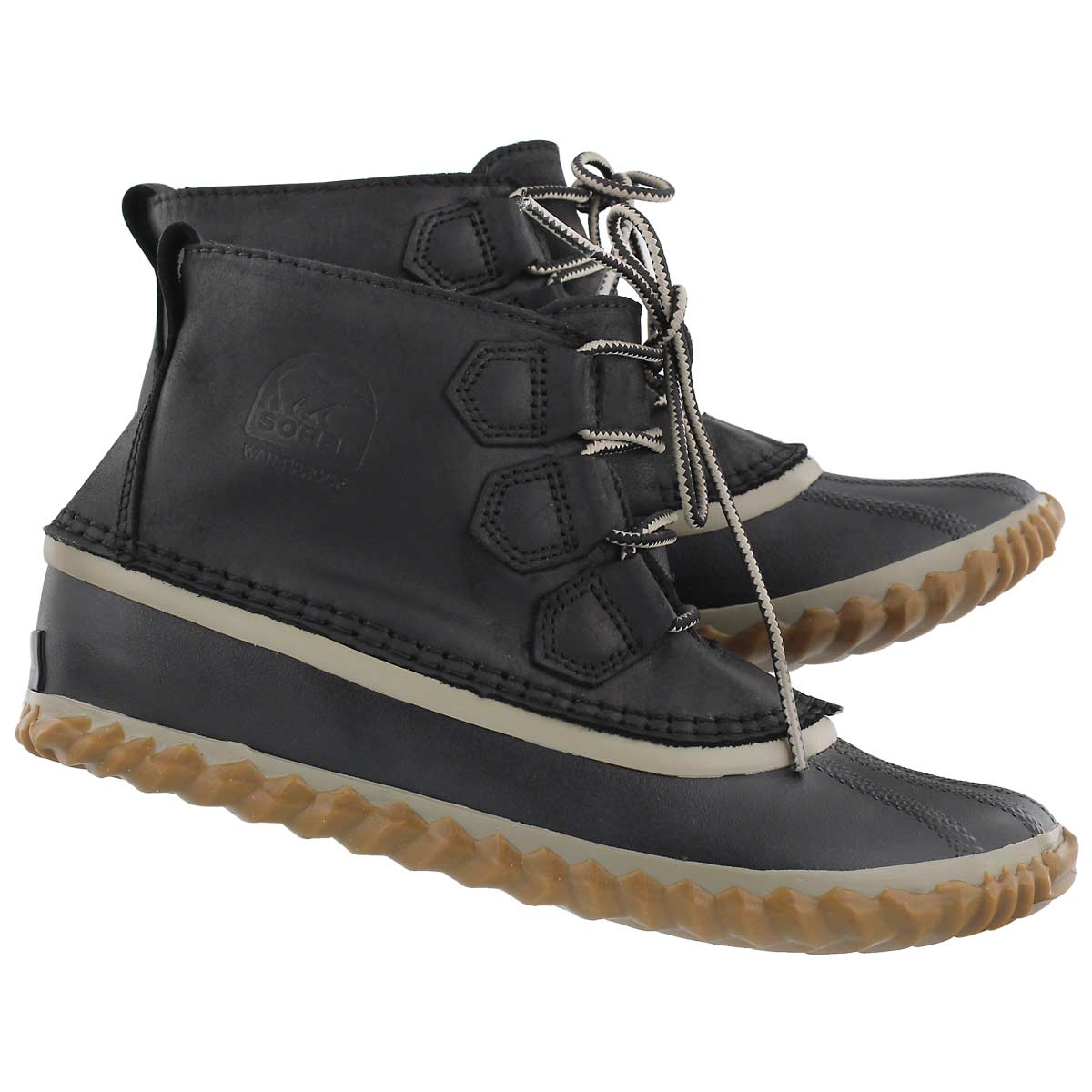 Lds Out'N About Leather blk/gry bootie
