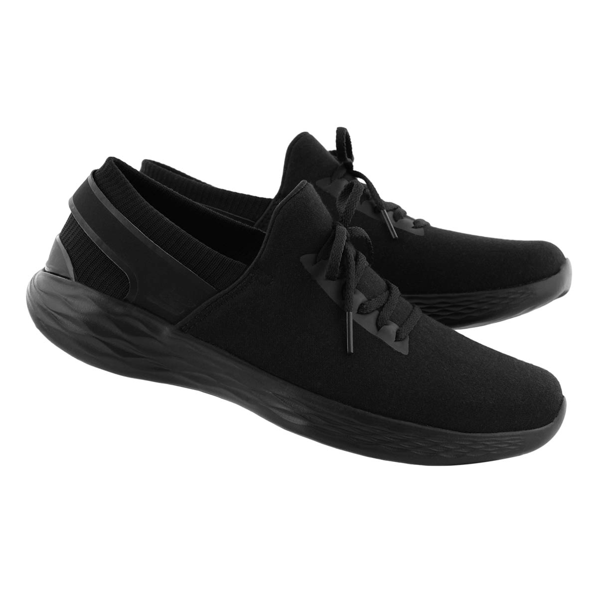 Lds YOU Ambiance blk lace slip on snkr