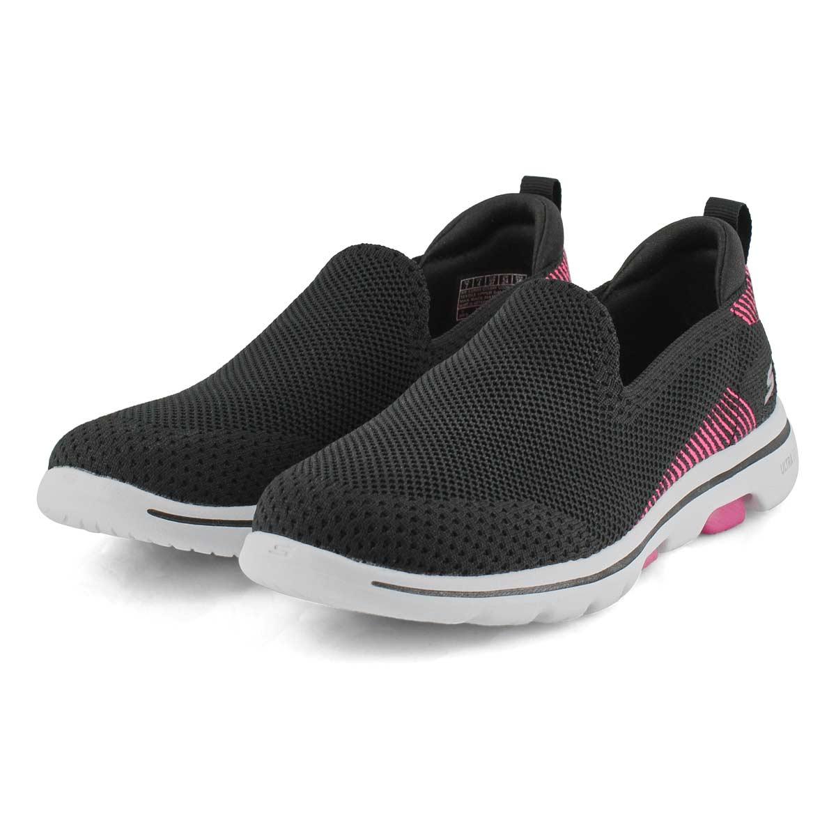 Lds GOwalk 5 Prized blk/pnk slipon shoe