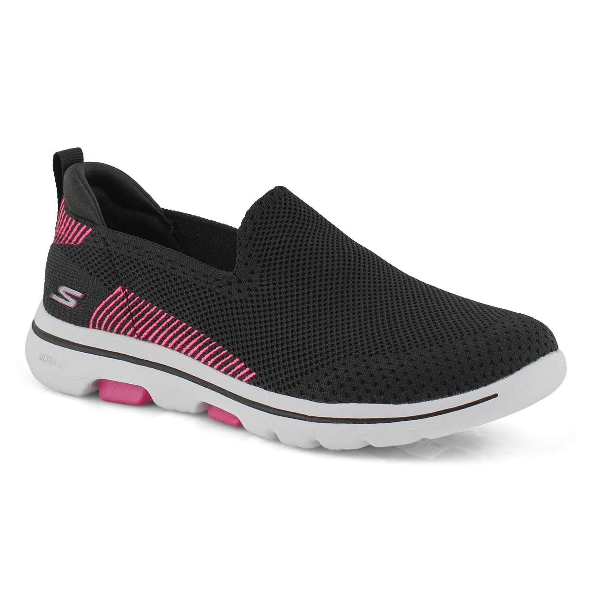 Lds GOwalk 5 Prized blk/pnk slipon shoe