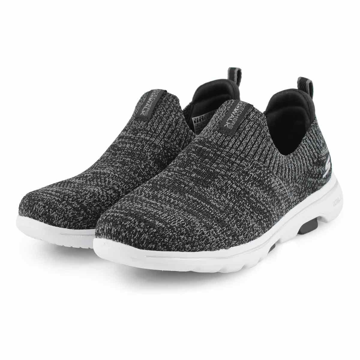 Lds GOwalk 5 Trendy bk/gy slip on shoe