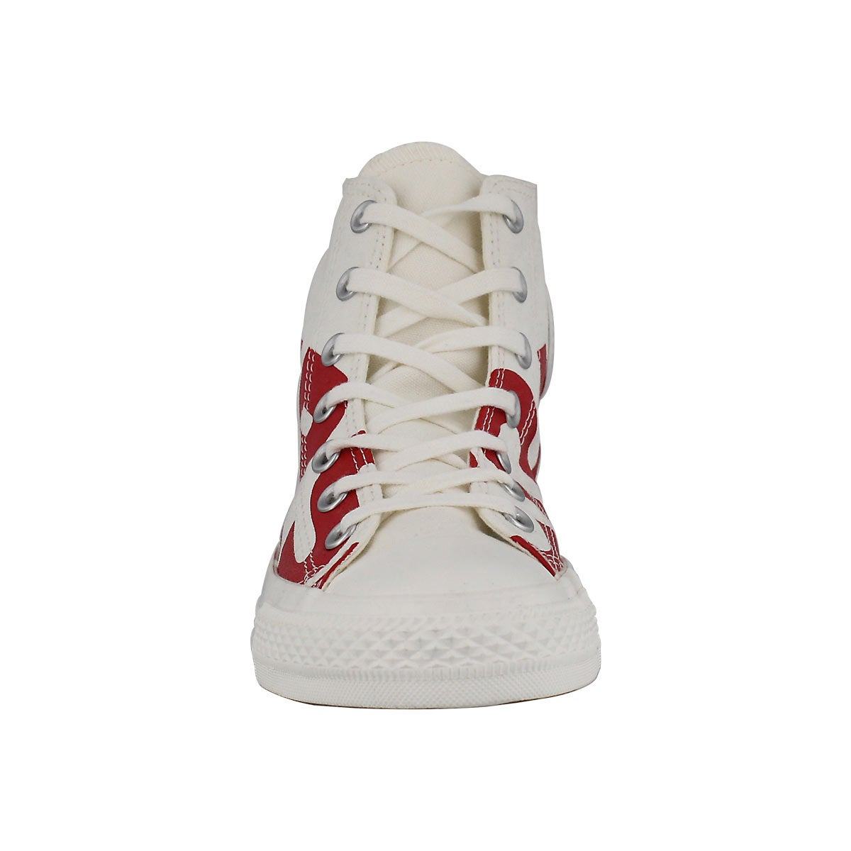 Lds CTAS Wordmark wht/red high top snkr