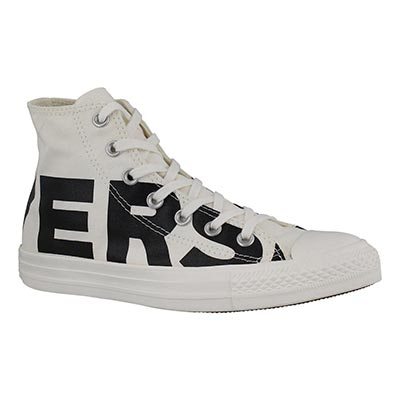 Lds CTAS Wordmark wht/blk high top snkr