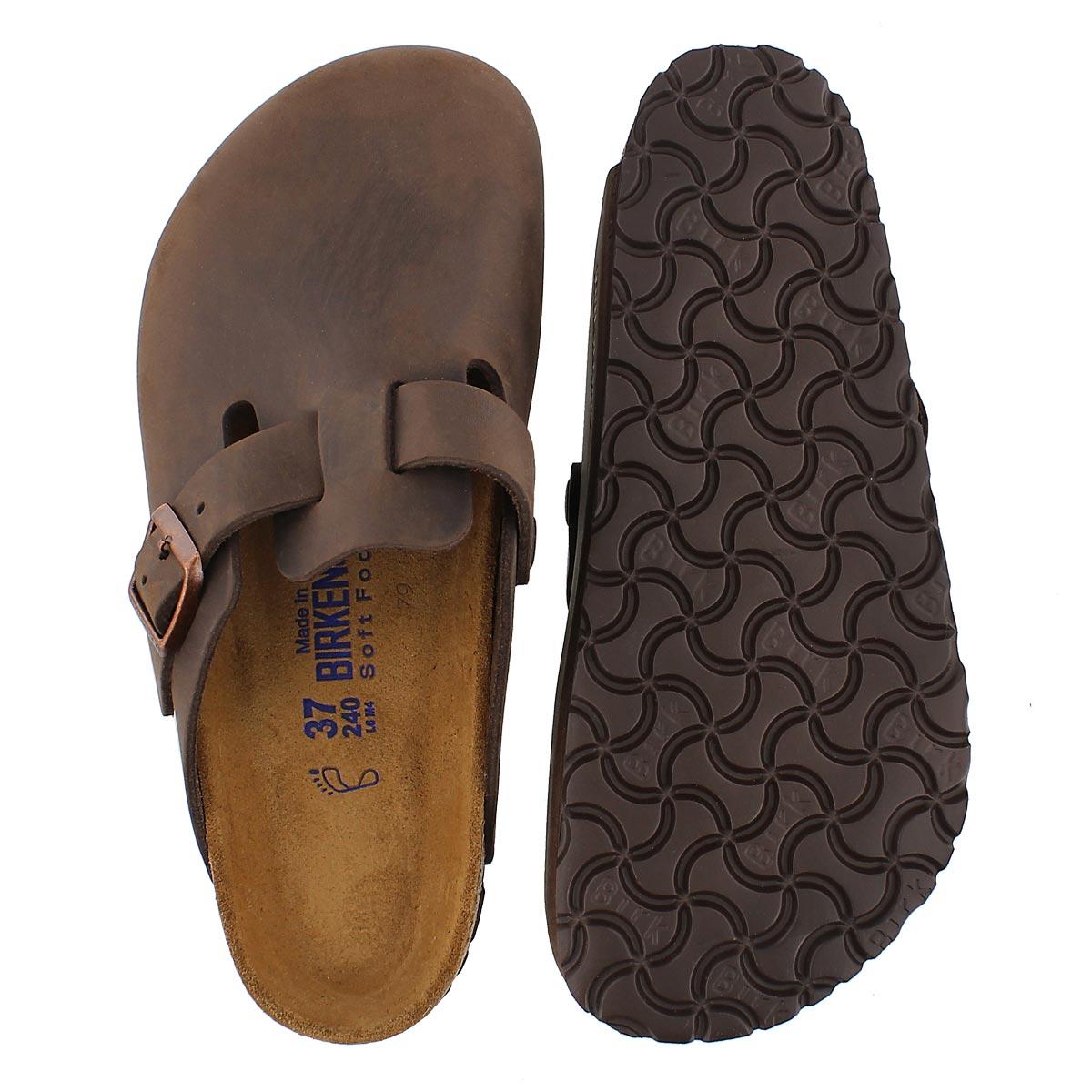 Lds Boston brn leather clog SF