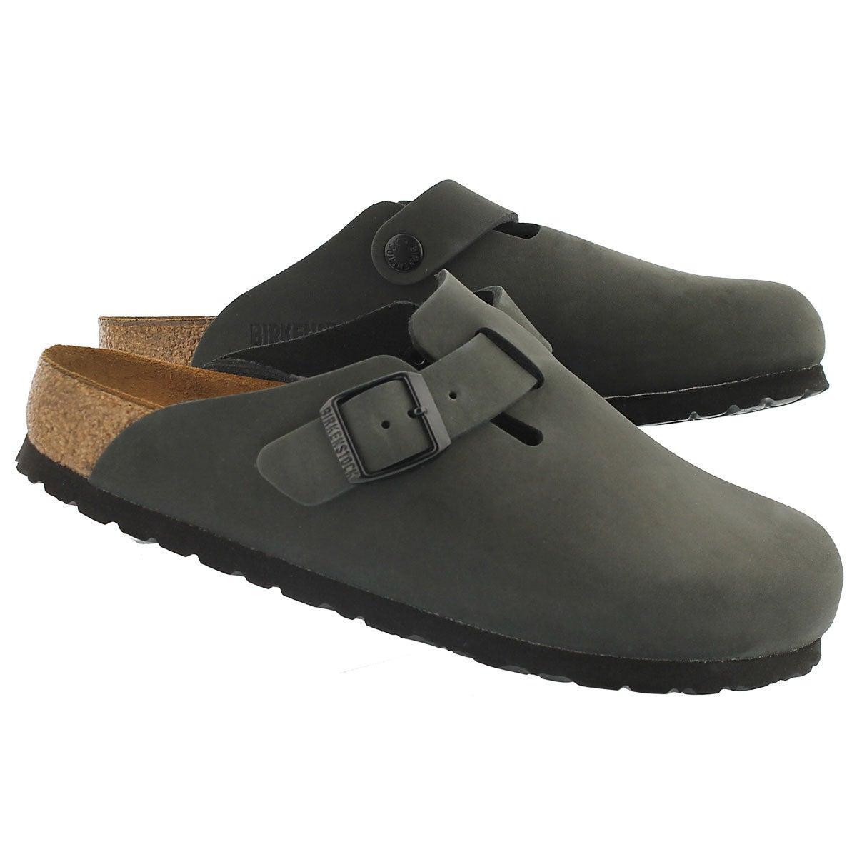 Lds Boston grey leather clog SF