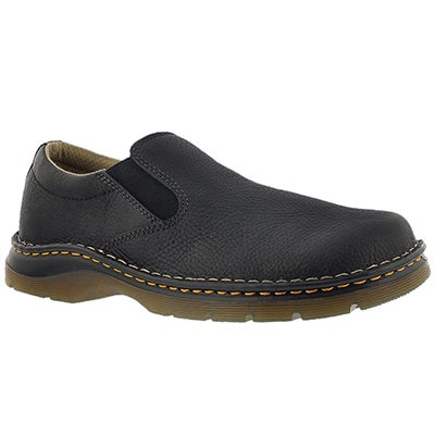 Dr Martens Men's BRYCE black leather slip-on casual shoes