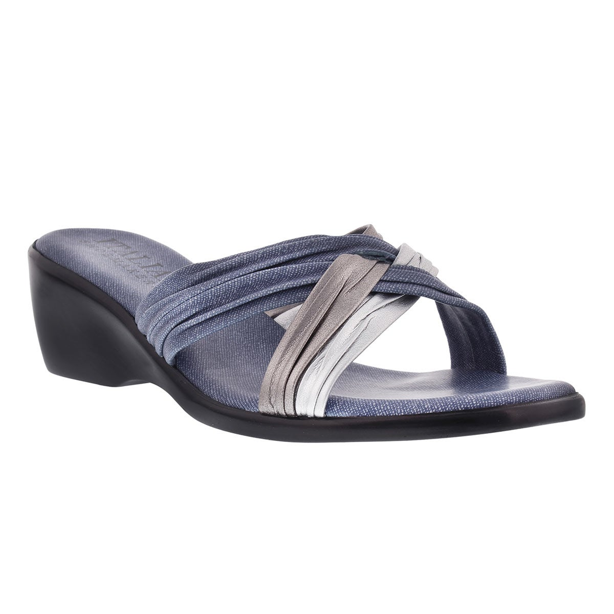 Italian Shoemakers Women S Cross Vamp Wedge Slide Sandal