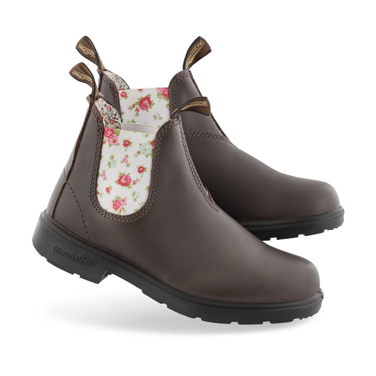 Kids Blunnies brn/floral twin gore boot