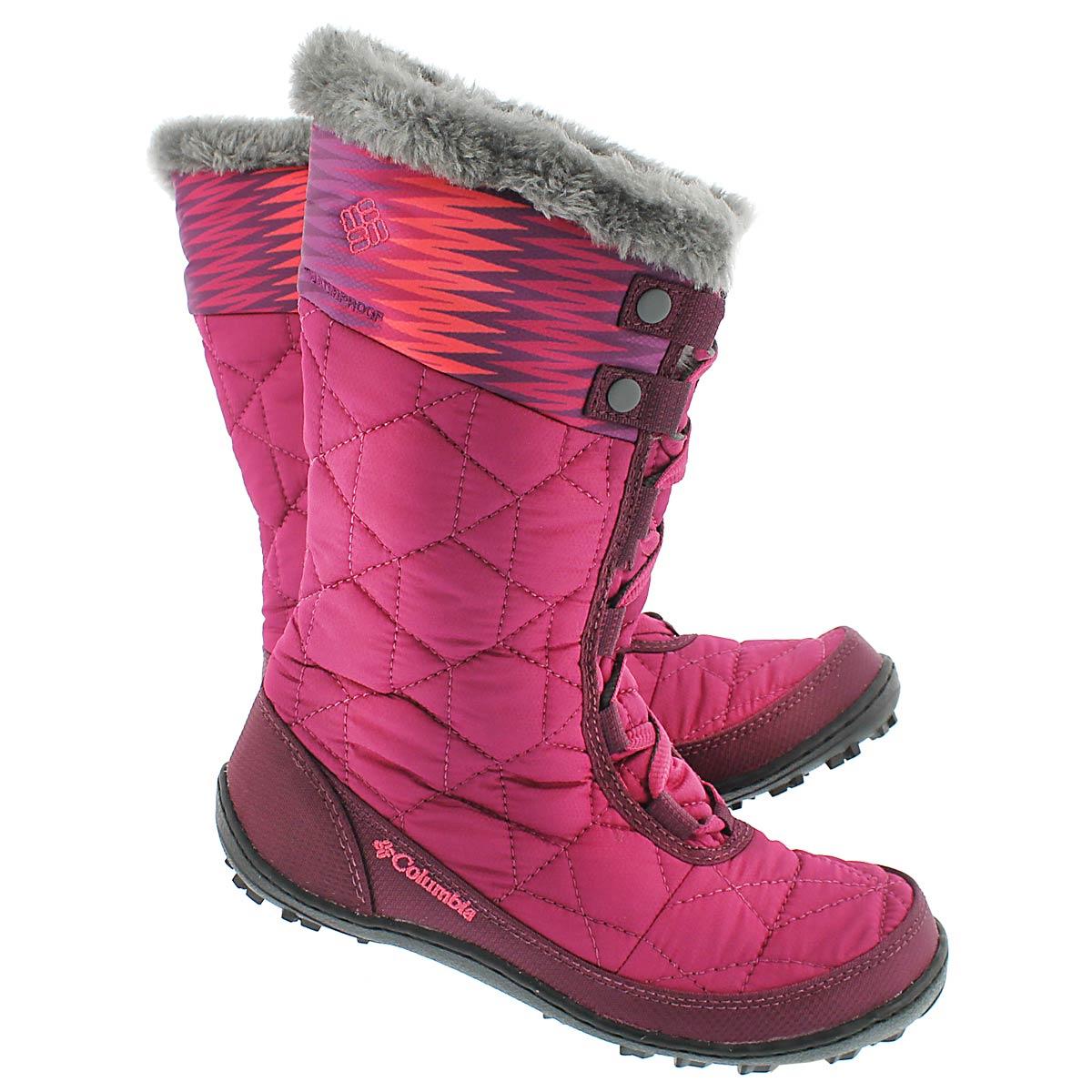 Grls Minx Mid II Print pink winter boot