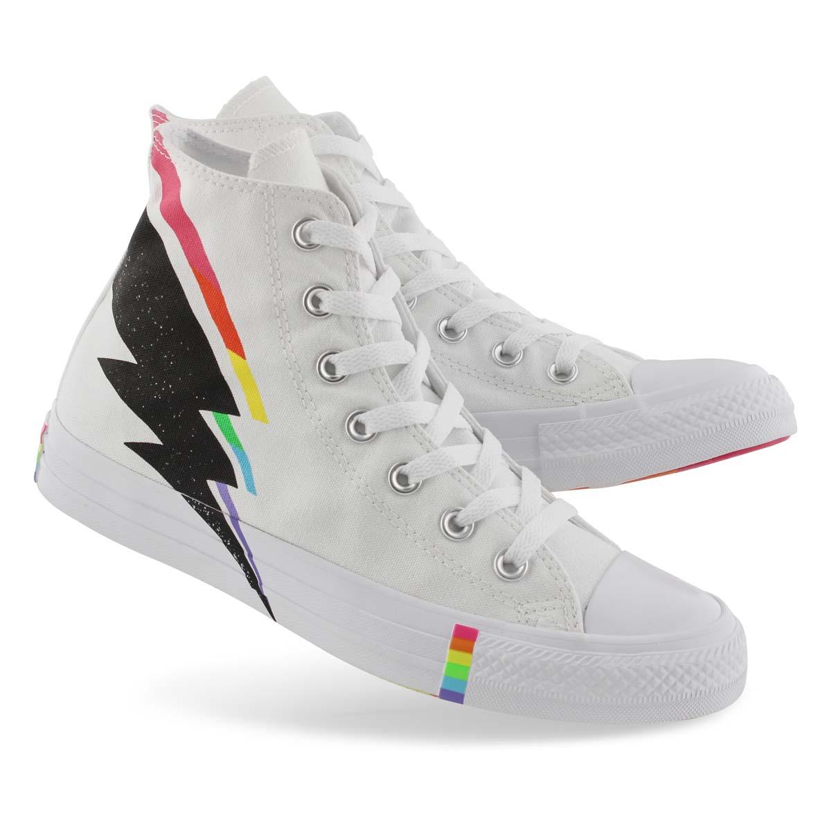 Lds CTAS Rainbow Pride Hi wht/mlt snkr