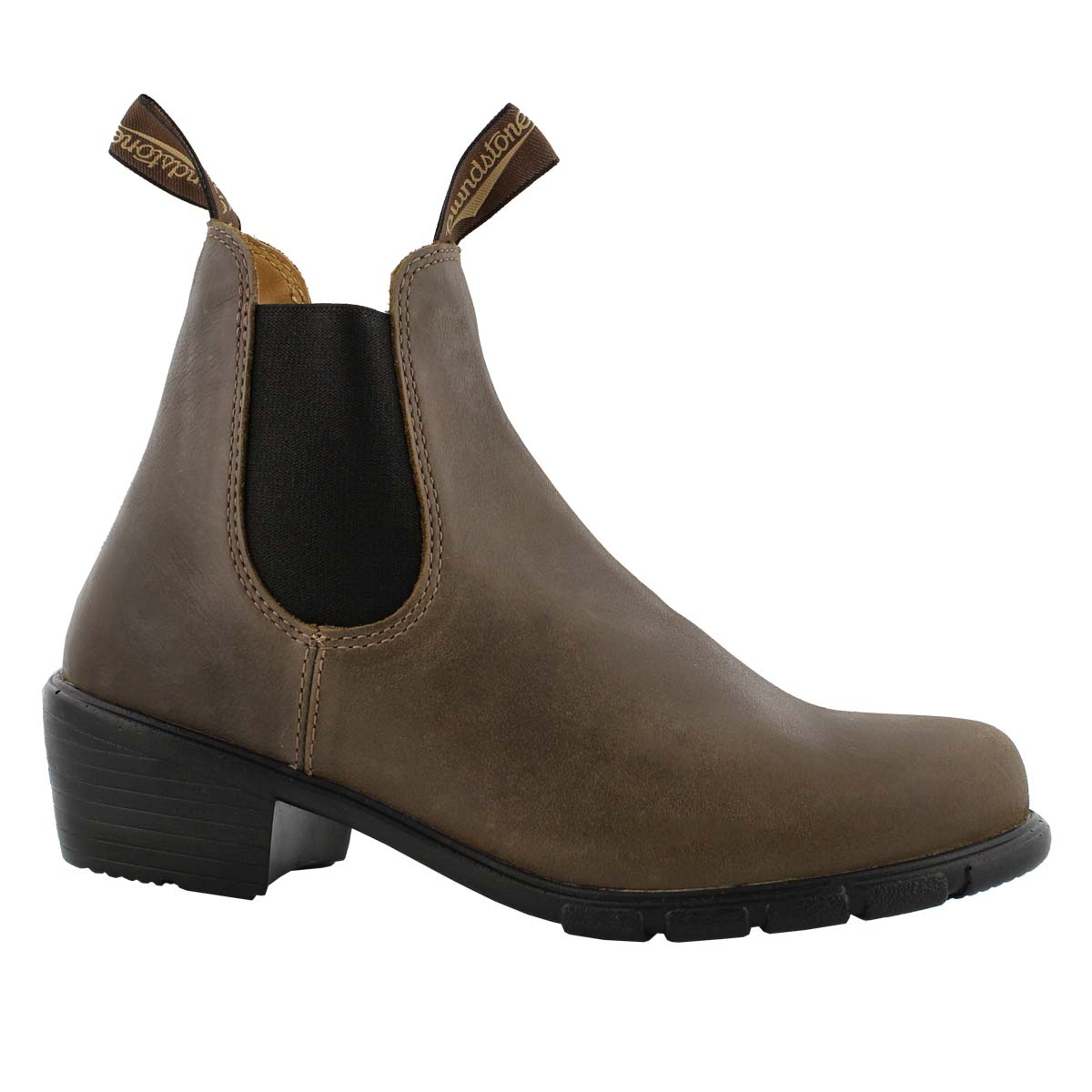 Lds block heel taupe pullon chelsea boot