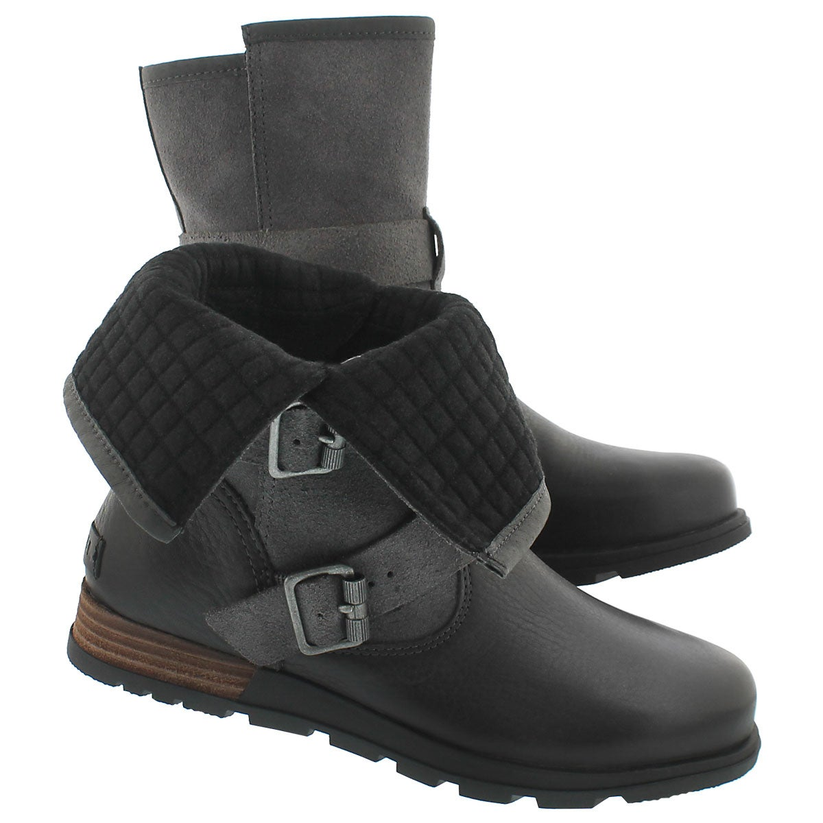 Lds MajorMoto dkgry fold down ankle boot