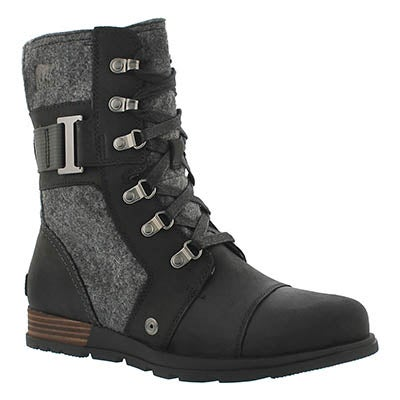Lds Major Carly black lace up boot