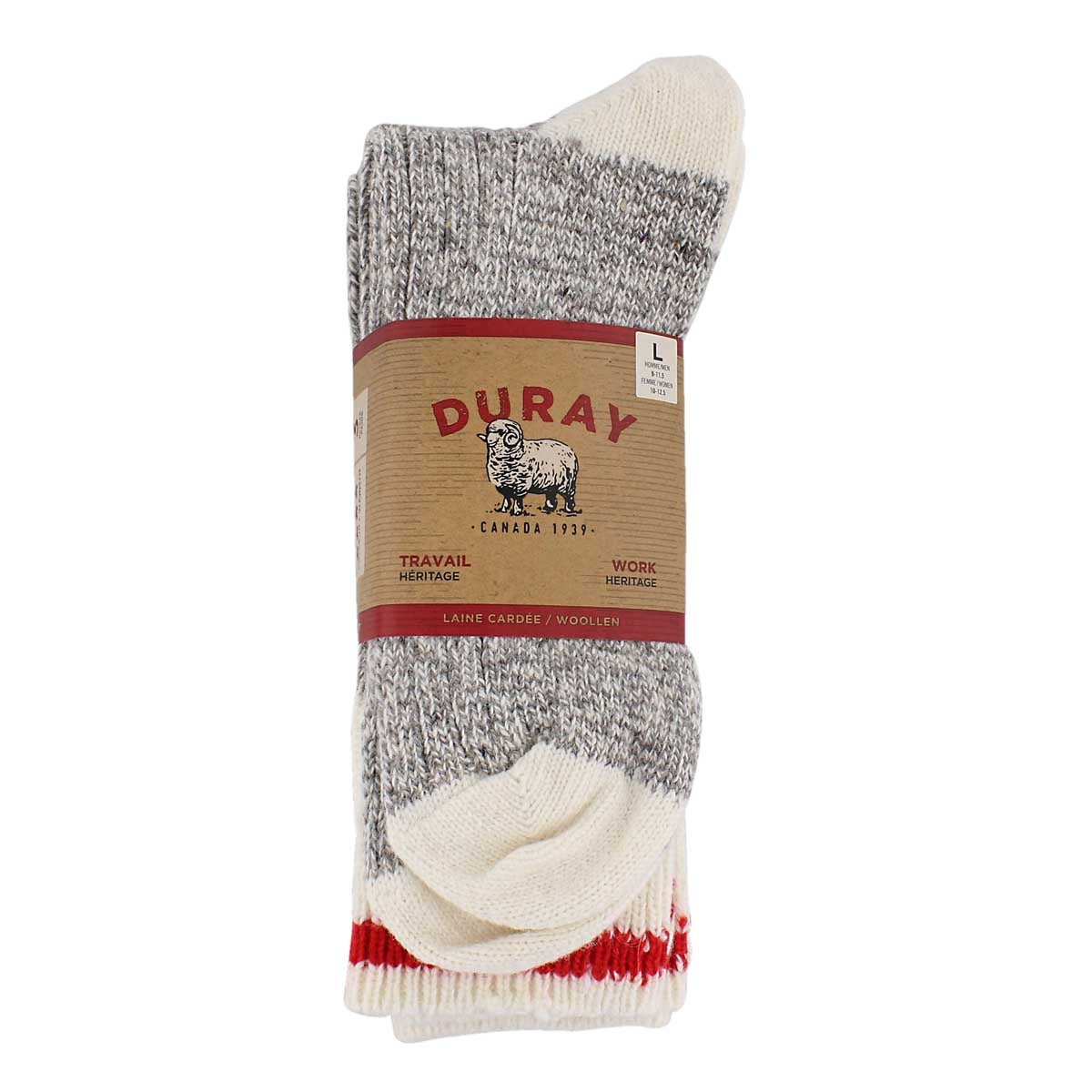 Mns Duray grey/wht wool blend sock-3 pk