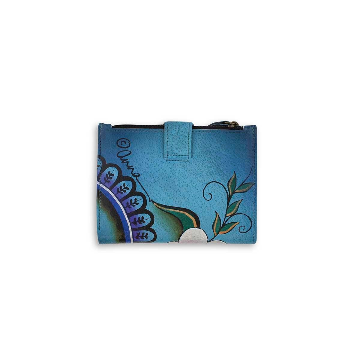Painted lthr Denim Paisley Floral wallet