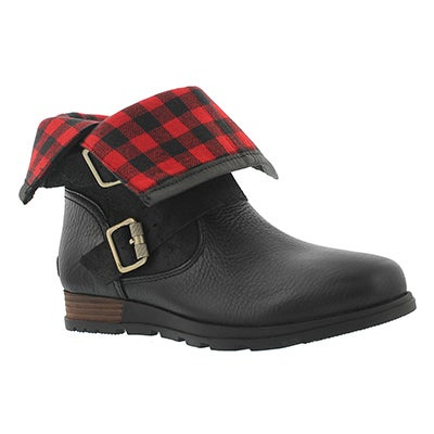 Lds Major Moto blk fold down ankle boot