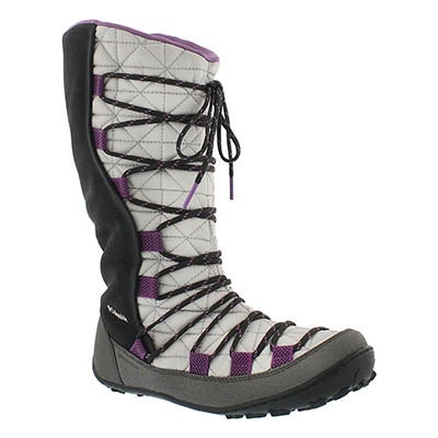 Columbia Girls' LOVELAND Omni-Heat grey/purple boots