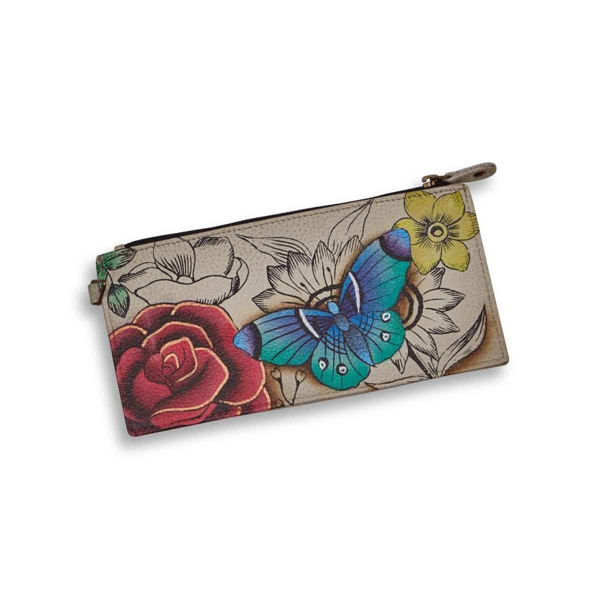Painted lthr Floral Paradise wallet