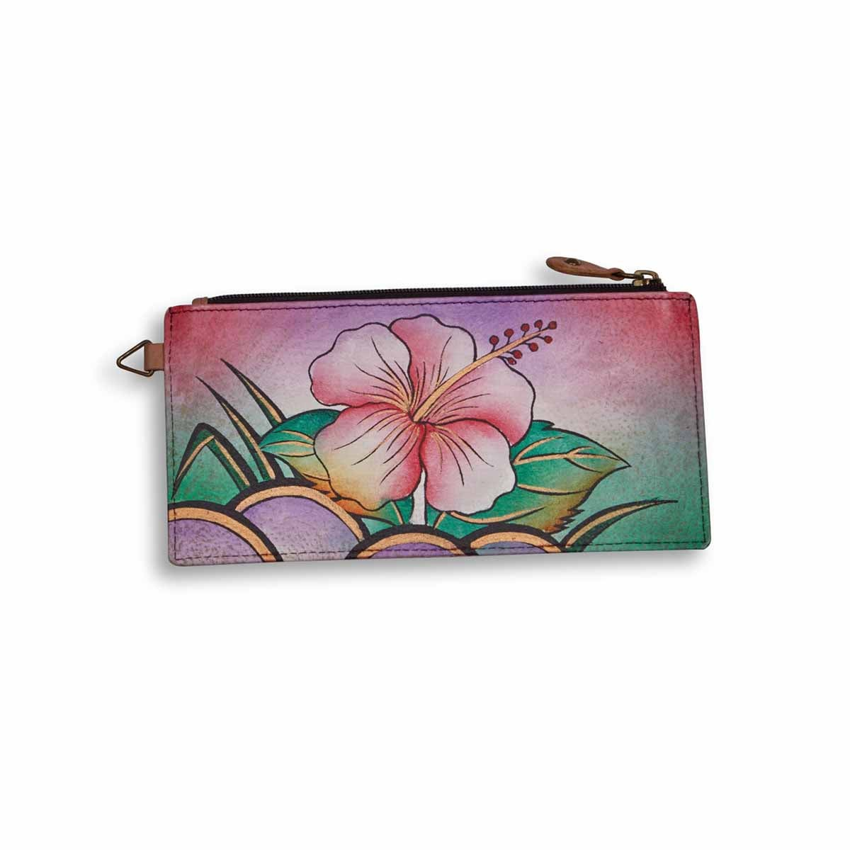 Painted lthr Hawaiian Hibiscus wallet