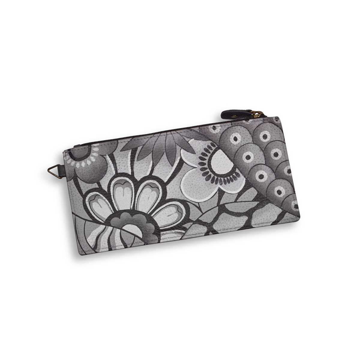 Painted lthr Patchwork Pewter wallet