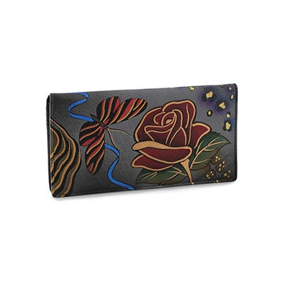 Painted lthr Rose Safari clutch wallet