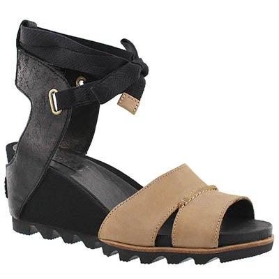Lds Joanie Wrap black wedge sandal