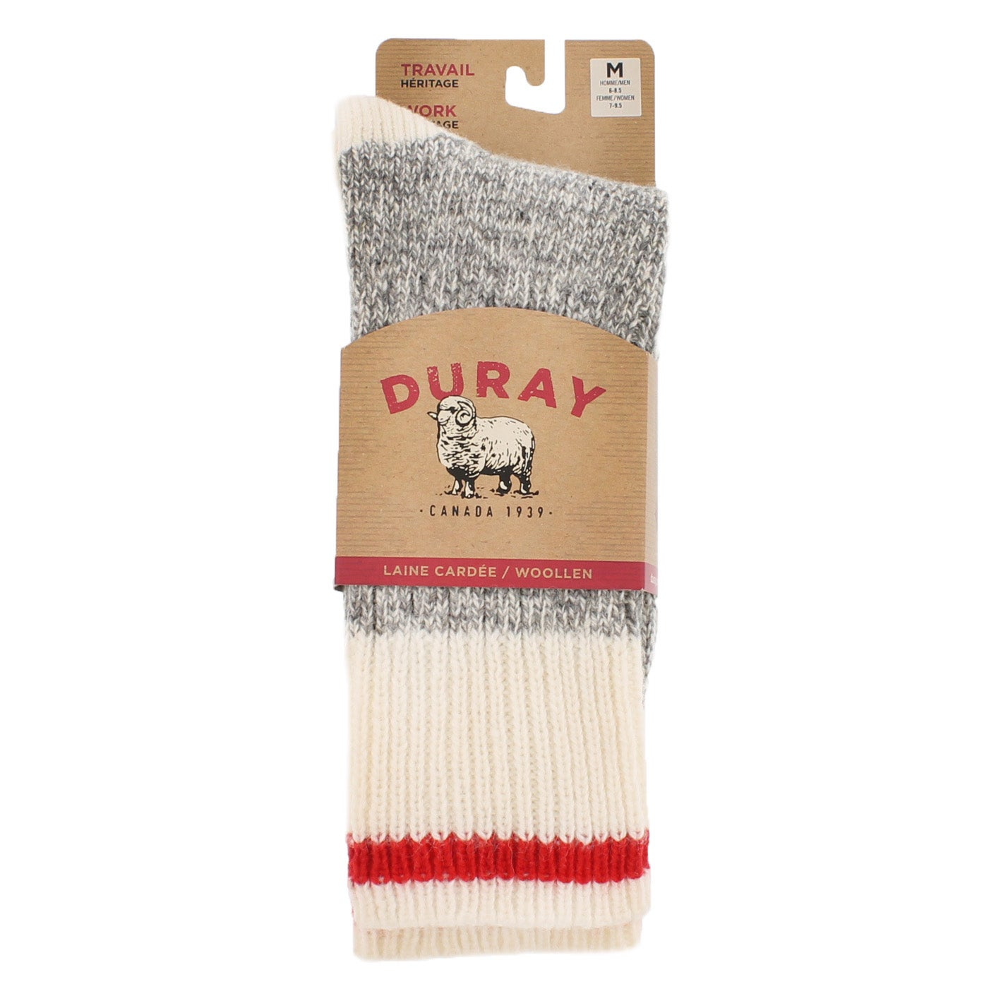 Lds Duray grey/wht wool blend heavy sock