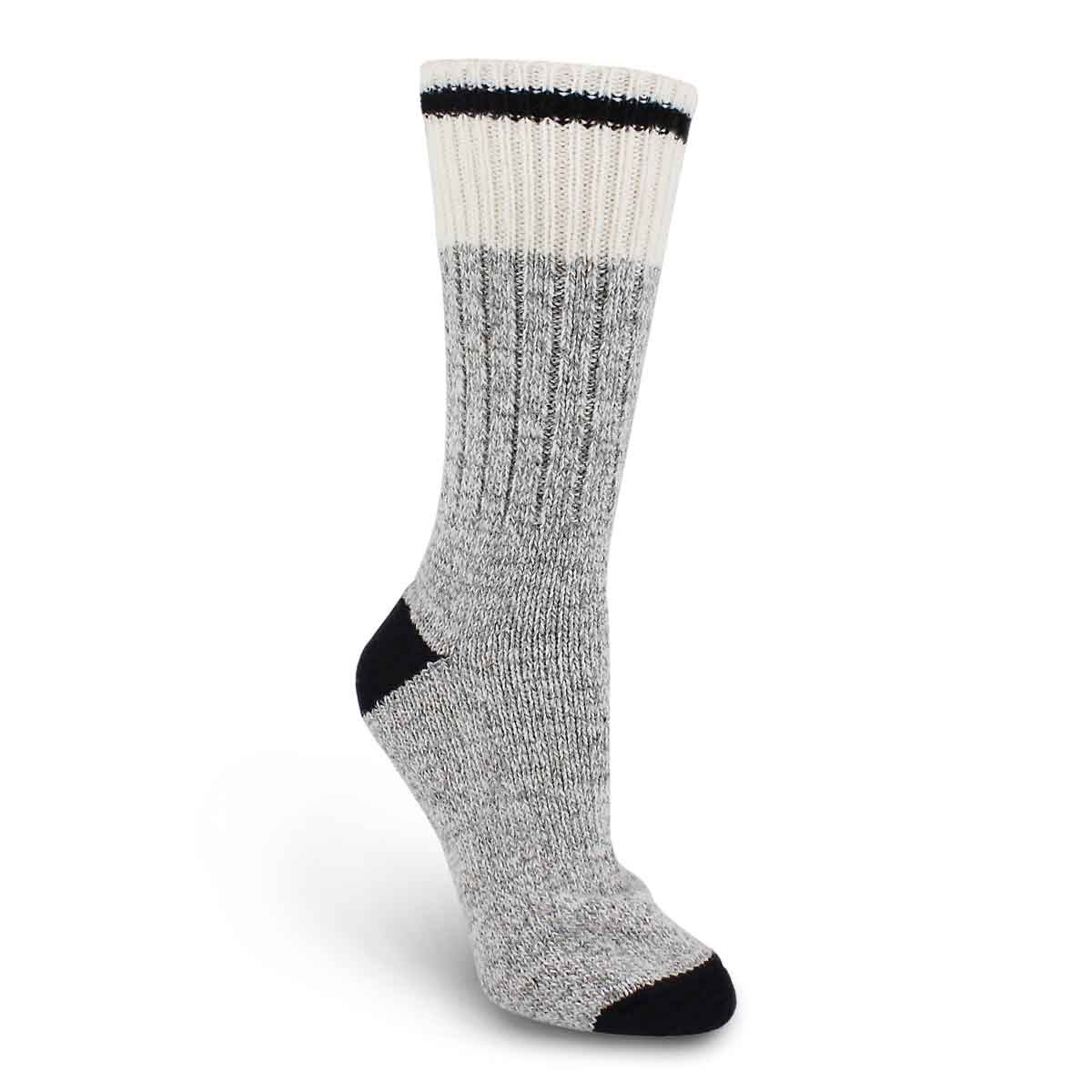 Lds Duray grey/blk wool blend heavy sock