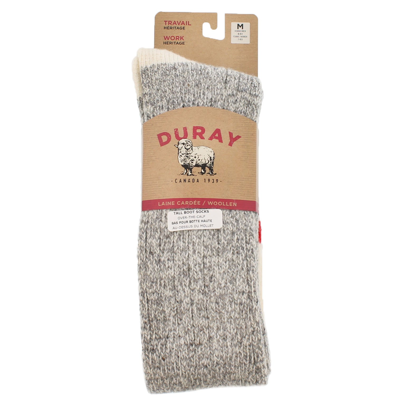 Lds Duray grey/wht wool blend tall sock
