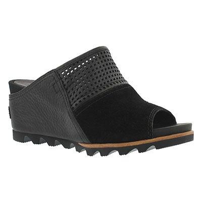 Lds Joanie Mule black wedge sandal