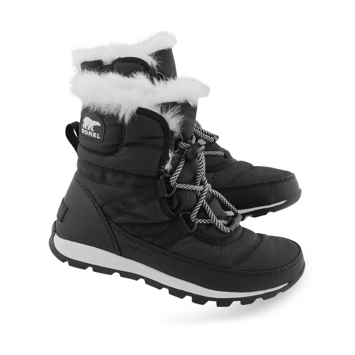 Grls Whitney Short Lace black snow boot