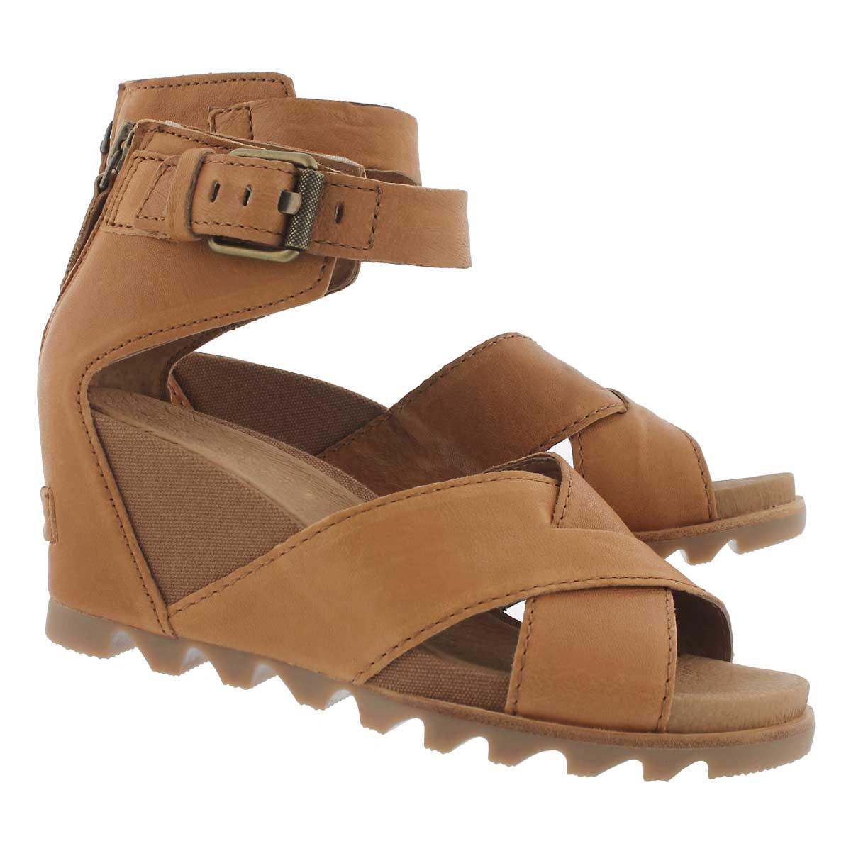 Lds Joanie II camel brn wedge sandal