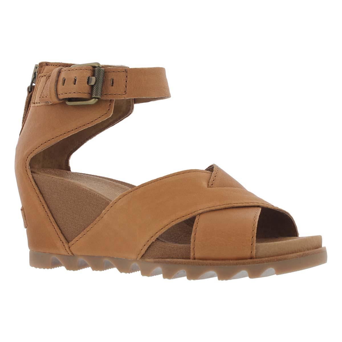 Women's JOANIE II camel brown wedge sandals