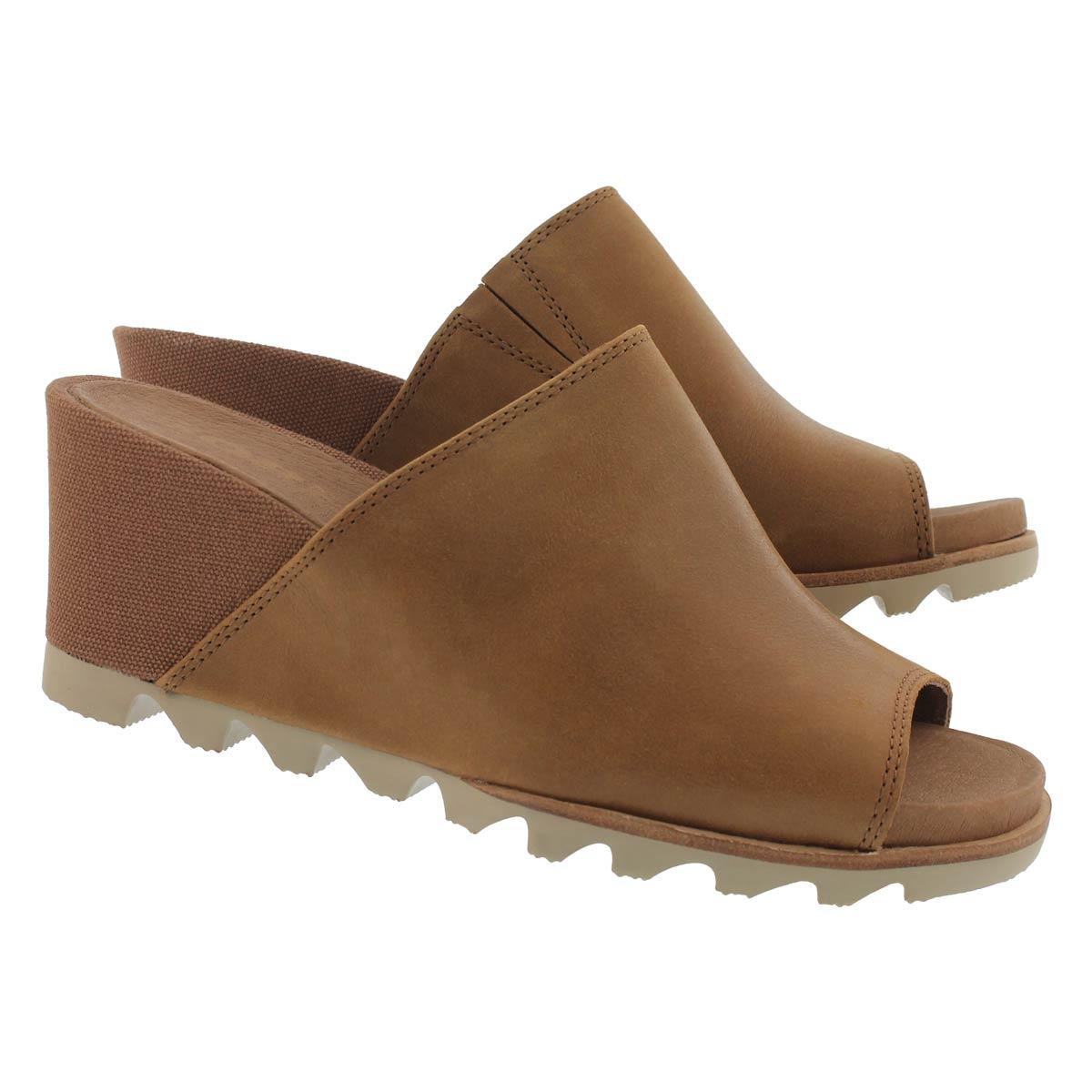 Lds Joanie Mule II cml brn wedge sandal