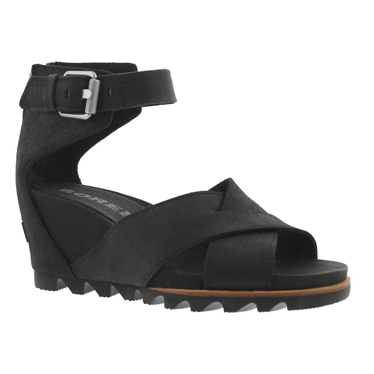 Women's JOANIE II black wedge sandals